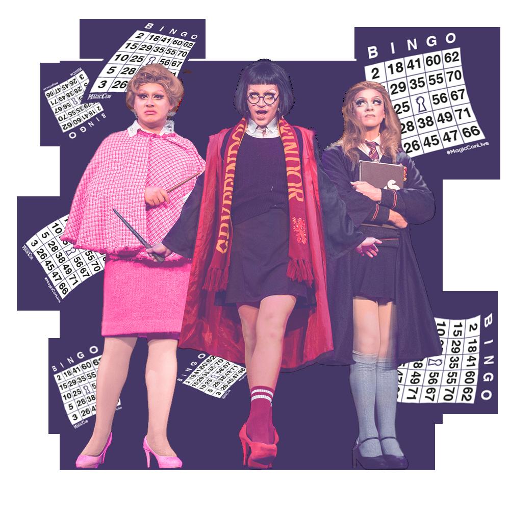 Cartela Digital Bingo Triluxo - Uma cartela de bingo e uma foto das 3 drag queens do mundo bruxo vestidas de Umbridge, Harry e Hermione