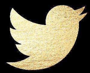 Logo do Twitter dourado