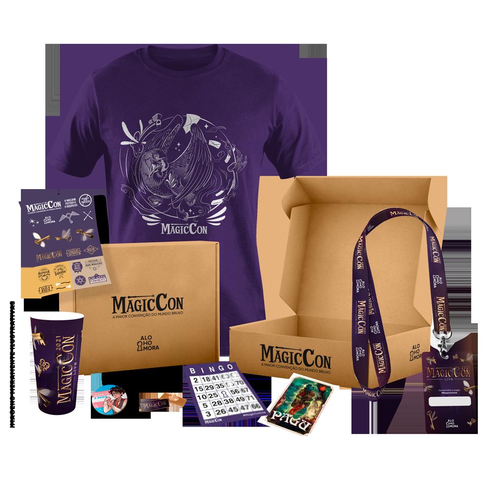 Caixa, camiseta, copo, botom, pin metálico, credencial, adesivos