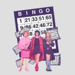 Cartela de bingo, com drag queens na frente